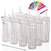 12-Pack Strata Cups 16oz Double Wall Clear Plastic Tumblers with Lids and Straws