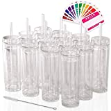 SKINNY TUMBLERS 12 Clear Acrylic Tumblers with Lids and Straws | Skinny, 16oz Double Wall Clear Plastic Tumblers With FREE Straw Cleaner & Name Tags! Reusable Cup With Straw (Clear, 12)