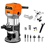 VOLLTEK 6.5-Amp Wood Router Tool, 1.25 HP Compact Trim Router with 5PCS Wood Router Bits, Edge Guide, Roller Guide, Dust Hood and 1/4' & 3/8' Collets Dobetter