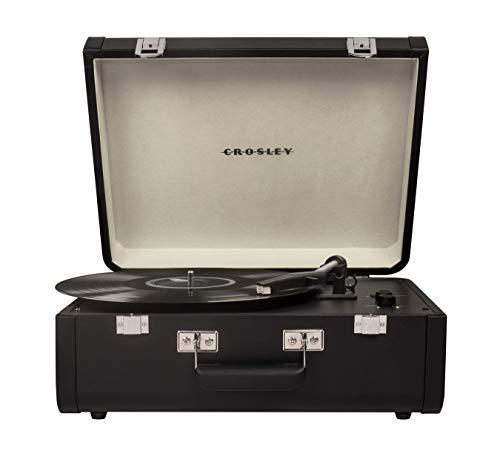 Crosley Portfolio Tragbarer Bluetooth Plattenspieler im Retro Design mit eingebautem Lautsprecher, Schwarz