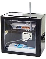 Yardwe Caja del Organizador del Almacenamiento del enrutador con la Caja de Almacenamiento del Cubo de la Toma de Corriente de la Ventana Transparente (Negro)