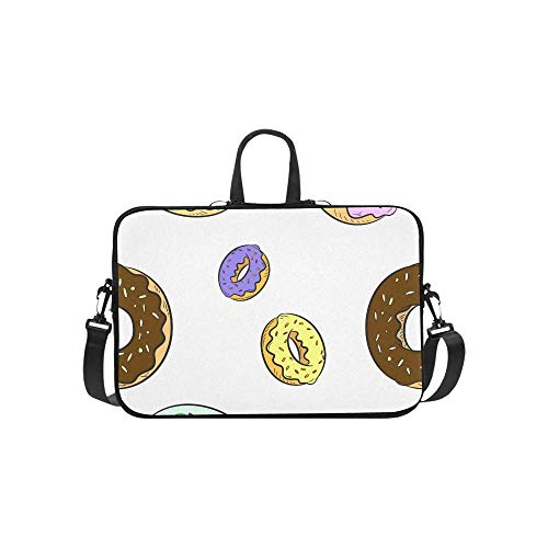 15.6″Lightweight Laptop Notebook Shoulder Backpack Bag Colorful Pattern Donuts Waterproof PC Briefcase Messenger with Strap