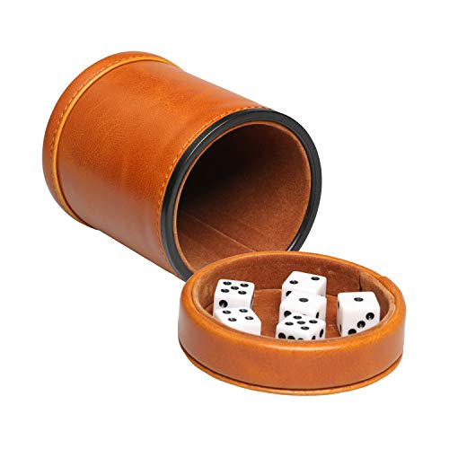 RERIVER Leatherette Dice Cup with Lid Includes 6 Dices, Velvet Interior Quiet in Shaking for Liars Dice Farkle Yahtzee Board Games, Brown