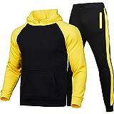Chándal deportivo para hombre de 2 piezas, sudadera con capucha de manga larga + pantalones con cordón, ropa para correr, entrenamiento, casual, fitness Nero+giallo B M