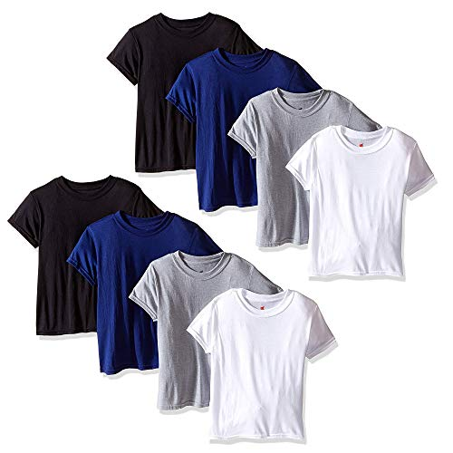 Hanes Big Boys t-Shirts-8 Pack Tees X-Temp Crew T-Shirts for Boys 4 Colors (X-Large)
