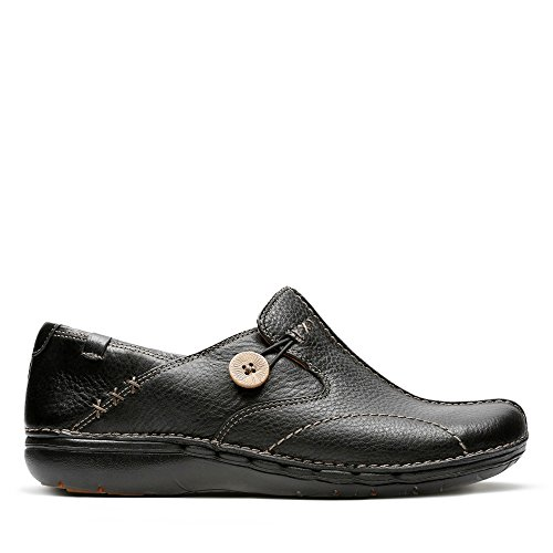 Clarks Un Loop, Damen Mokassin, Schwarz (Black Leather), 42 EU (8 UK)