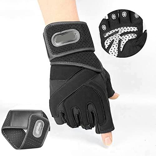 generetic Guantes Gimnasio Hombre Mujer Guantes Pesas Gym Guantes con Pulsera Medio Dedo Proteccion Respirable Gloves con Protección Completa de Muñeca y Palma para Crossfit Levantamiento de Pesas