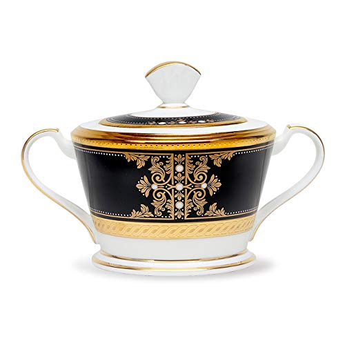 Noritake Evening Majesty Sugar with Cover, 12 oz in Black/White