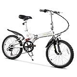 DJYD Erwachsene Mountain Bikes, 20 Zoll 6 Gang Full Suspension Fahrrad, High-Carbon Stahlrahmen, Männer Frauen Gebirgsfahrrad, faltendes Fahrrad, Weiss FDWFN