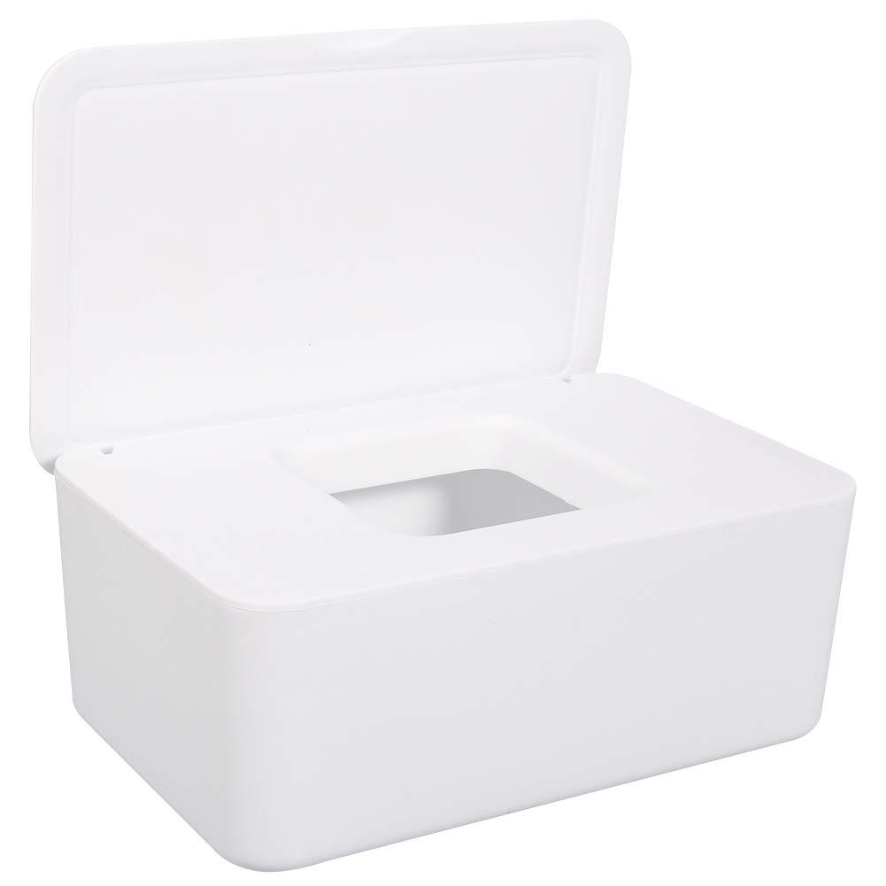 Wipes Dispenser, Baby Wipes Case Wet Wipes Dispenser Keeps Wipes Fresh Tissue Storage Box Holder Wipe Container (White)