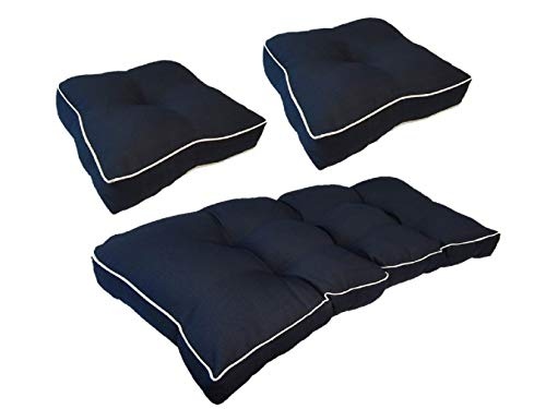 Suntastic Indoor/Outdoor Navy Textured Settee and Seat Cushion Set for Patio Furniture, Set of 3 Backyard Cushions