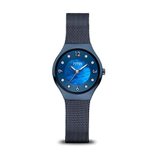 BERING Reloj Analógico Solar Collection para Mujer de Energía Solar con Correa en Acero Inoxidable y Cristal de Zafiro 14427-393
