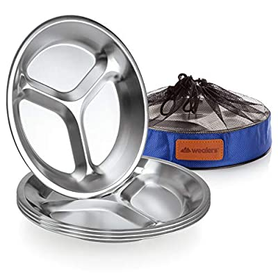 "Stainless Steel Plate Set - 9.8"" inch Ultra-Portable Dinnerware Set of 4 Round BPA Free, Sectioned Plates with Mesh Travel Bag for Outdoor Camping 