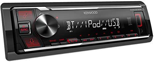 Kenwood KMM-BT206 - Radio de Coche con USB y Manos Libres (sintonizador de Alto Rendimiento, procesador de Sonido, USB, AUX, Control de Spotify, 4 x 50 W, iluminación de Botones), Color Rojo/Negro