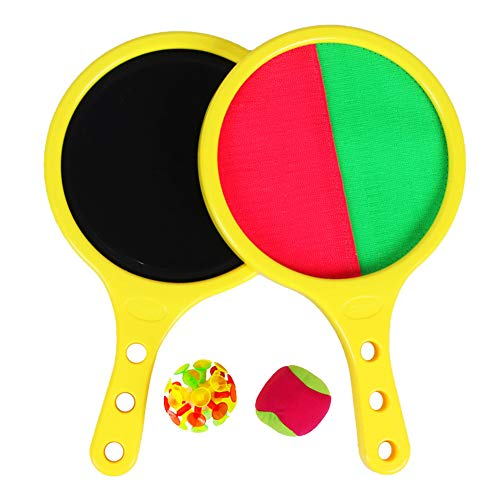 EQLEF Lanza Pelotas Padel, Self-Stick Racket Throw and Catch Juego Deportivo Juego Sand Beach Toys for Kids Presents Set
