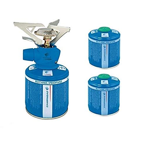 ALTIGASI Campingaz Réchaud à gaz de camping Twister Plus de marque Campingaz + 2 cartouches à gaz CV 300 avec système amovible – Produit idéal pour le camping