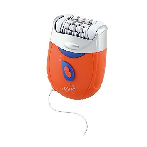 Emjoi eRase e60 Dual Opposed Heads 60-Disc 2-in-1 Electric Epilator Tweezer with Shaver/Trimmer and Sensitive Attachments - Orange