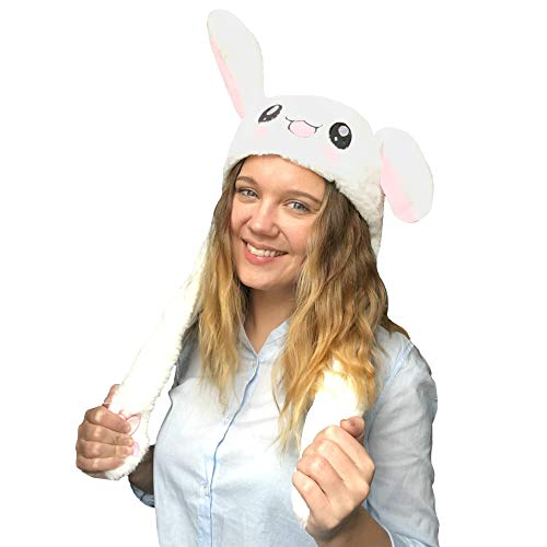 JSVER Bunny Hat Rabbit hat Ear Moving, Cute Pets Unisex Plush Animal Hats, Jumping Hat Rabbit Cap with Moving Ears TIK Tok Cap Gift for Women, Girls, Cosplay, Halloween, Easter, Christmas Party White