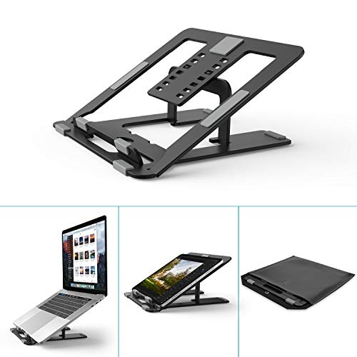 Foldable Laptop Stand Holder,Klearlook 7 Adjustable Height and Angle Portable Ventilated Laptop Riser Cooling Pad with Carry Bag,Ergonomic Aluminum Tray Mount for Laptop/Notebook/Tablet Computer