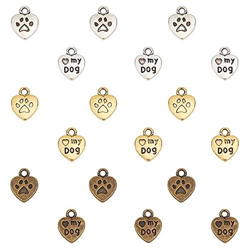 PandaHall Elite 150 unidades 3 colores corazón con 'Love My Dog' cachorro huella de perro colgantes...