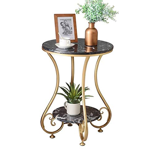 Side Table End Tables,Nordic Marble Coffee Table 2 Layer Sofa Table Iron Art Bedside Table Small Round Tea Table With Storage Shelf For home, office