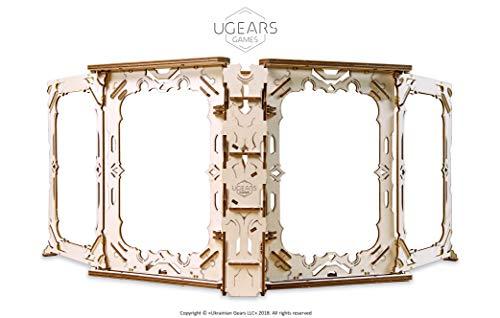 UGEARS 3D Modellbausatz Brettspiele Spielleiterschirm- Game Master Bildschirm GM Screen Holzbausatz Würfelspiele Kartenspiele für Erwachsene Modellbau Set Spielezubehör Holz Brettspiel Zubehör