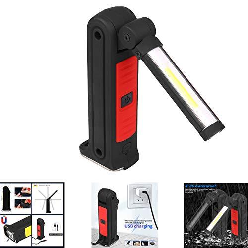 Lishism629085 COB werklicht, LED zaklamp vouwbare lantaarn, zaklamp waterdichte hanglamp onderhoudslamp, magnetische inspectiehaken lamp ingebouwd rood