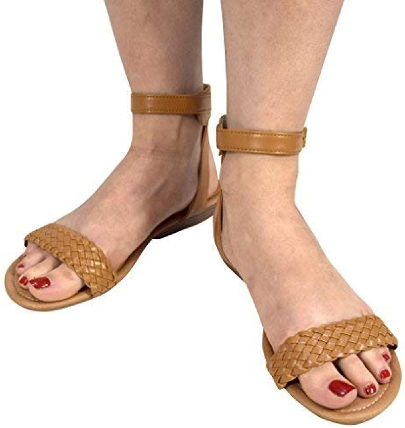 Peach Couture Womens Woven Strap Summer Wedge Heel Sandal with Adjustable Ankle Strap
