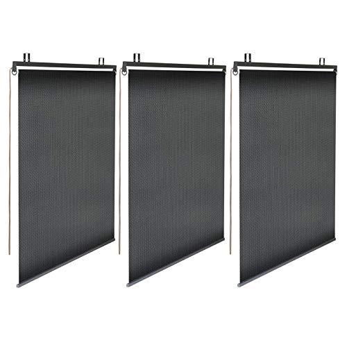 IDMarket - Lot de 3 Stores enrouleurs Noirs tamisants L. 120 cm x H. 225 cm pour pergola