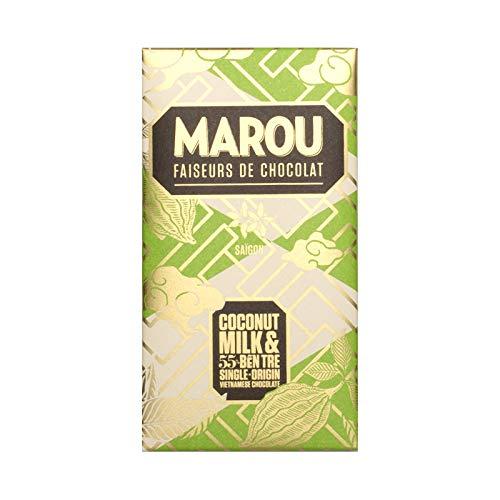 Vietnamesische Schokolade Marou Ben Tre Coconut & Milk 55% Kakao 80g FREI von Soja, Gluten, Nüssen & Milch