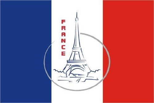 Michael & Rene Pflüger Barmstedt 8,4 x 5,4 cm Autoaufkleber Fahne von Frankreich mit Paris Eiffelturm Aufkleber Sticker fürs Auto Motorrad Handy Laptop