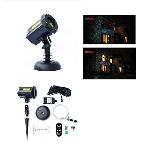 LedMall Moving Firefly Red, Green, and Blue Outdoor Laser Garden and Christmas Lights with remote control and Security Lock