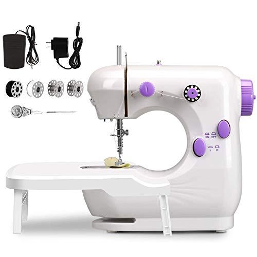 Máquina de coser, portátil, multifuncional, eléctrica, máquina de coser con mesa extensible, luz nocturna, 2 velocidades ajustables, para coser en casa, principiantes, niños (morado)