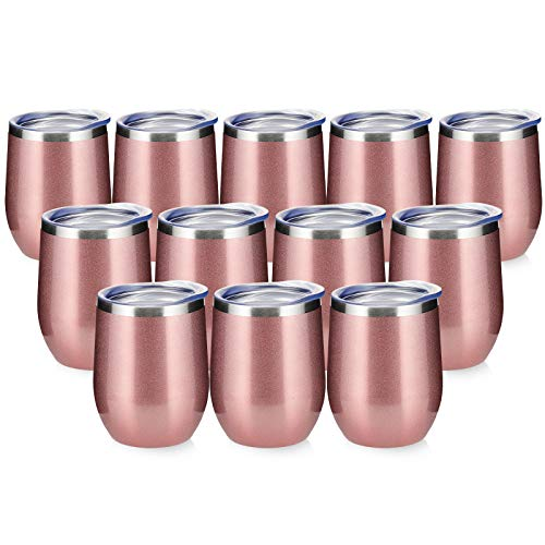 12oz/12pack Wine Tumbler with Lid,Double Wall Vacuum Stainless Steel Travel Mug,Stemless Wine Cup Glass Keeping Cold & Hot for Coffee,Cocktails,Drinks (Rose gold, 12pack)