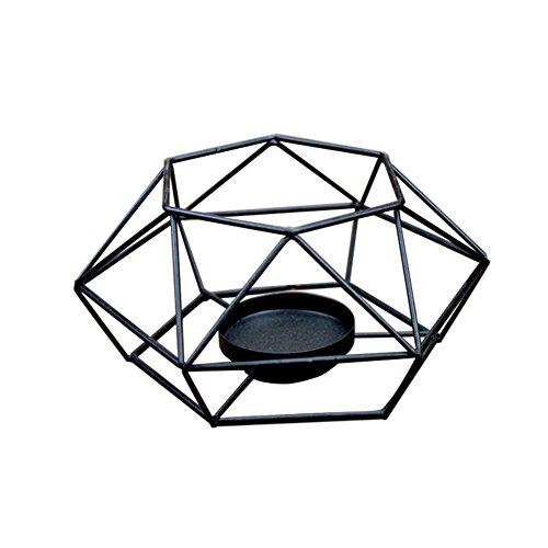 Kentop Kerzenhalter Geometrischer Metall Kerzenständer Teelichthalter Handwerk Dekoration Kerzenleuchter, Schwarz