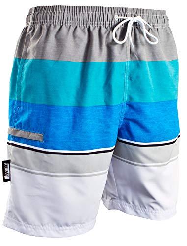 Luvanni Badehose für Herren Schnelltrocknende Badeshorts 601 mit Kordelzug Beachshorts Boardshorts Schwimmhose Männer mit Streifenmuster blau Blau grau Streifen Blau XXL