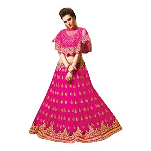Pink Cape Style Lehenga Choli Dupatta Long Skirt Ceremony Silk Wedding Women Dress 7245