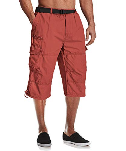 MAGCOMSEN Männer 3/4 Hosen Baumwolle Kurz Sommerhose Army Hose Herren Cargo Taschen Stoffhose Outdoor Leichte Arbeitshose Lässige Kurze Hose mit Multi Taschen Rot 34