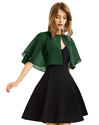 Soft Chiffon Shawl Wraps Shrug for Evening Wedding Women Accessories(Dark Green)
