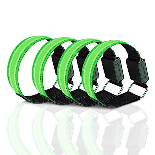 RainRose LED Leuchtband Jogger, Jogging Licht Reflektor Tape Licht Strips, Lauflicht für Handgelenk, Arm, Knöchel, Bein, LED Leuchtbänder Sport Laufen Reflektor Radfahren Outdoor-Übungen, 4 Pack