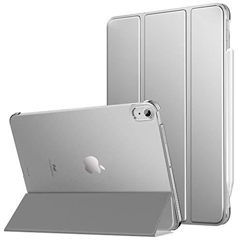 MoKo Hülle Kompatibel mit iPad Air 4. Generation 2020 iPad 10.9 Zoll2020 Tablet, [Unterstützt 2. Gen iPencil Laden] PU Leder Tasche Transluzent Rückseite Schutzhülle Auto Schlaf/Wach, Silber