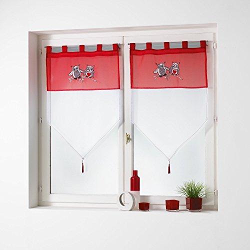 Le Jardin des Cigales Paire Pompon passants Polyester Rouge 2 x 60 x 90 cm