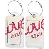 VORMOR Etiquetas para Equipaje,XO Heart Figure Letters Love Print,2 Piezas Etiquetas de Equipaje de Viaje Etiquetas de Identificación de la Maleta para Maletas,Mochila
