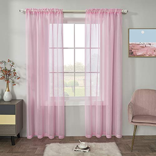 Pink Semi Sheer Curtains Faux Linen Sheer Window Curtain Panels Drapes 84 Inch Length with Rod Pocket for Living Room Girls Kids Room Bedroom 2 Panels 52 x 84 Inches Long Pink