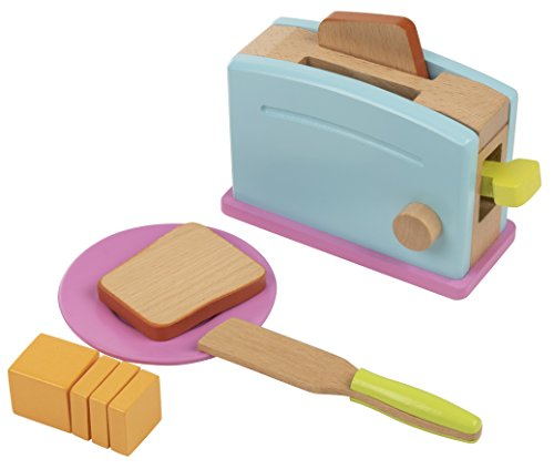 Wooden Toaster Toy - 9-Piece Pretend Play Kitchen Set Bread Butter Kids, Wood Play Food Children Playtime
