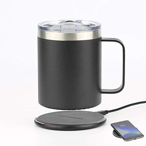 Lamker 2 en 1 300ml Calentador de Café USB Eléctrica Inteligente Calentadora de Tazas Acero Inoxidable Calentadores de Bebidas Leche té para hogar Oficina Temperatura Constante 131 ℉ / 55 ℃