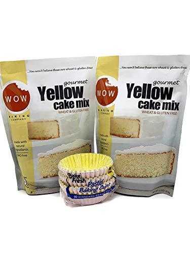 Wow Baking Company Gluten Free Gourmet Yellow Cake Mix Bundle with 2-11oz. Cake Mixes & 1 Pkg. Bake Fresh Baking Cups (90 cups)
