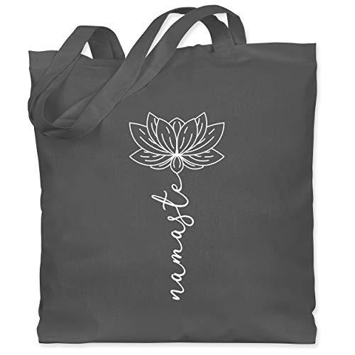 Shirtracer Wellness, Yoga & Co. - Namaste Lotusblüte weiß - Unisize - Dunkelgrau - lotusblüte yoga - WM101 - Stoffbeutel aus Baumwolle Jutebeutel lange Henkel