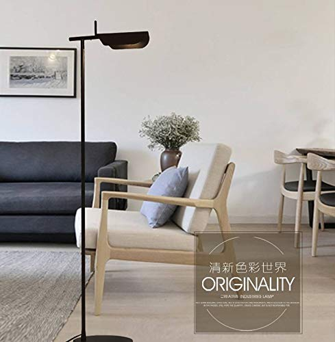 DSENIW QIDOFAN Lámpara de pie moderna lámpara de pie de luz estándar G9 LED de metal para vestíbulo, sala de estar, dormitorio, estudio interior (pantalla de lámpara: negro)