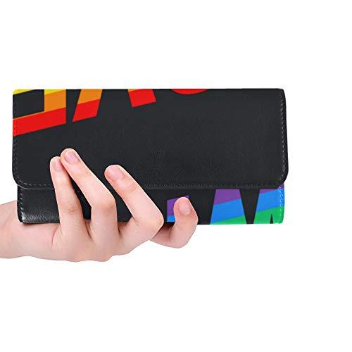Unique Custom Love Wins Pride Month Rainbow Flag Women Trifold Wallet Long Purse Credit Card Holder Case Handbag